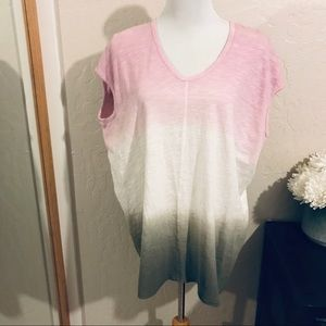 Anthropologie Left of center tri color top size M